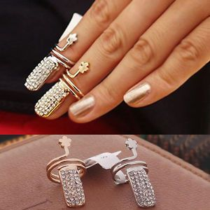 Fancy Finger Nail Ring Crystal Diamond Wrap Fingernail Ring Claw Nail Art Decor