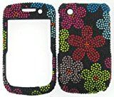 FULL DIAMOND CRYSTAL STONES COVER CASE FOR BLACKBERRY CURVE 8520 8530 9300 COLORFUL FLOWERS ON BLACK