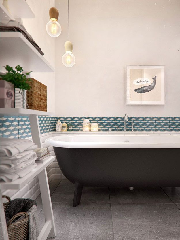 A White And Clack Modern Bathroom Blue Geometric Tile Chair Rail And Clawfoot Tub