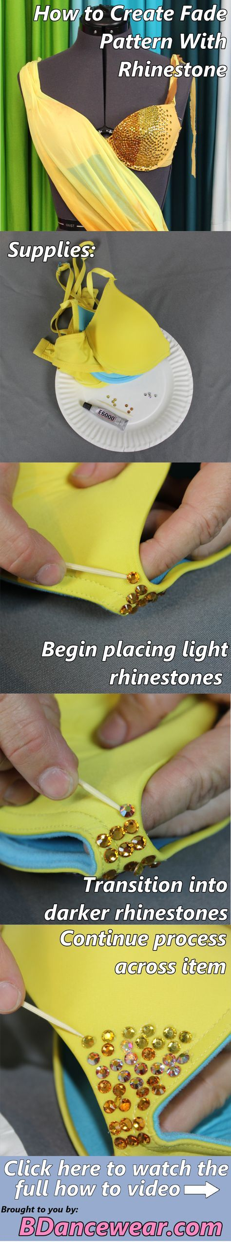 How to create fade pattern with rhinestone for a dance costume.