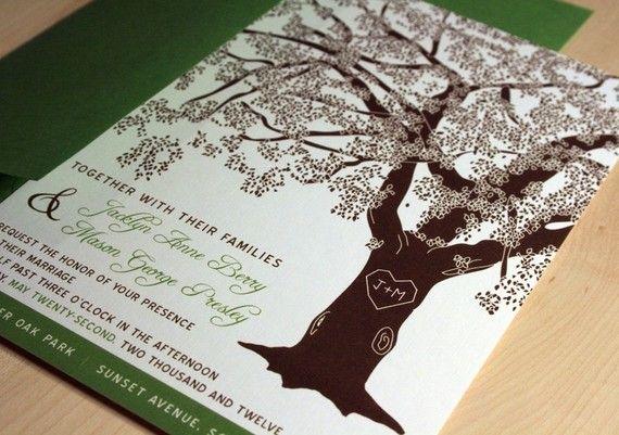 SAMPLE of Grandfather Oak Tree Wedding Invitations
