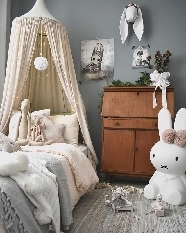 How pretty is this little girl's room! Miffy lamp and Maileg soft bunnies are all available online.