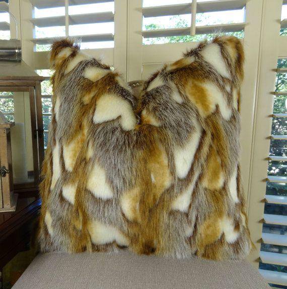 Light Brown Faux Fur Throw Pillow Cover  Brandy Fox Fur