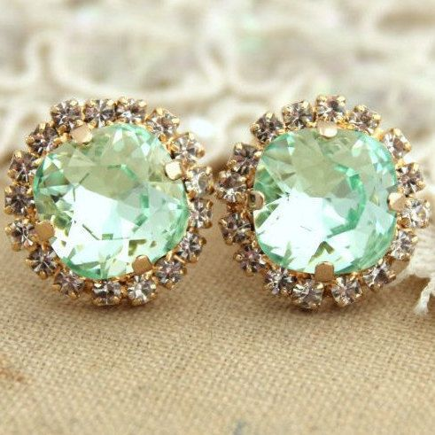 Mint Stud Earrings,Crystal Mint Earrings,Swarovski Mint Studs,Bridal Mint Earrings,Bridesmaids Mint Earring,Bridesmaids Gift,Gift For Her