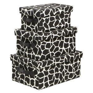 Fabric Box Set of 3 - Black