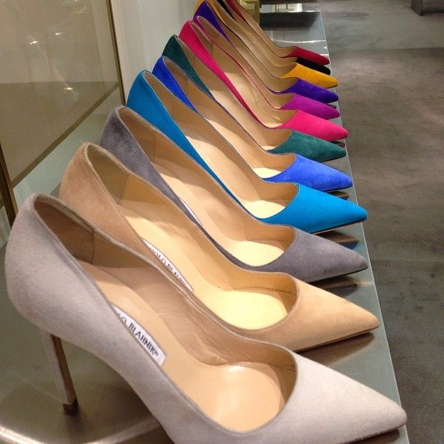 Colourful pointy heels