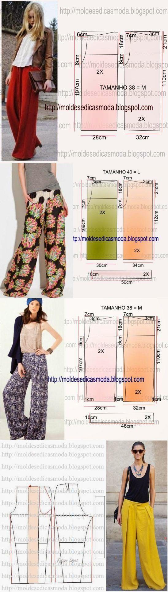 Выкройки летних широких брюк.
