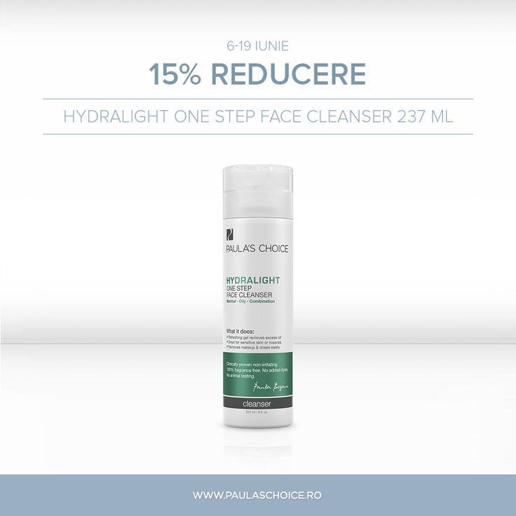 Începând de azi, până în 19 iunie, produsul vedetă este Hydralight One Step Face Cleanser 237 ml! Profită chiar azi de reducere de 15% la acest produs de curățare! http://www.paulaschoice.ro/hydralight-one-step-face-cleanse…
