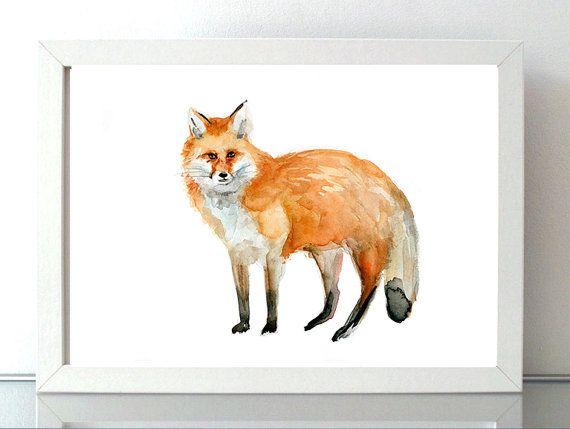 Vos aquarel  Print  Vos Schilderij  Tekening vos  door Zendrawing