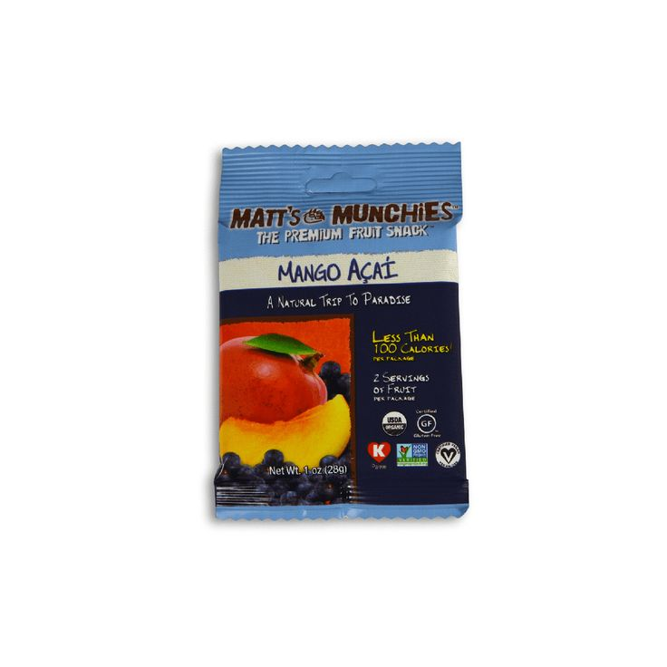 Organic mango puree. Organic acai pulp. That's all that goes into Matt's Munchies Mango Acai. And that's why we love them.
