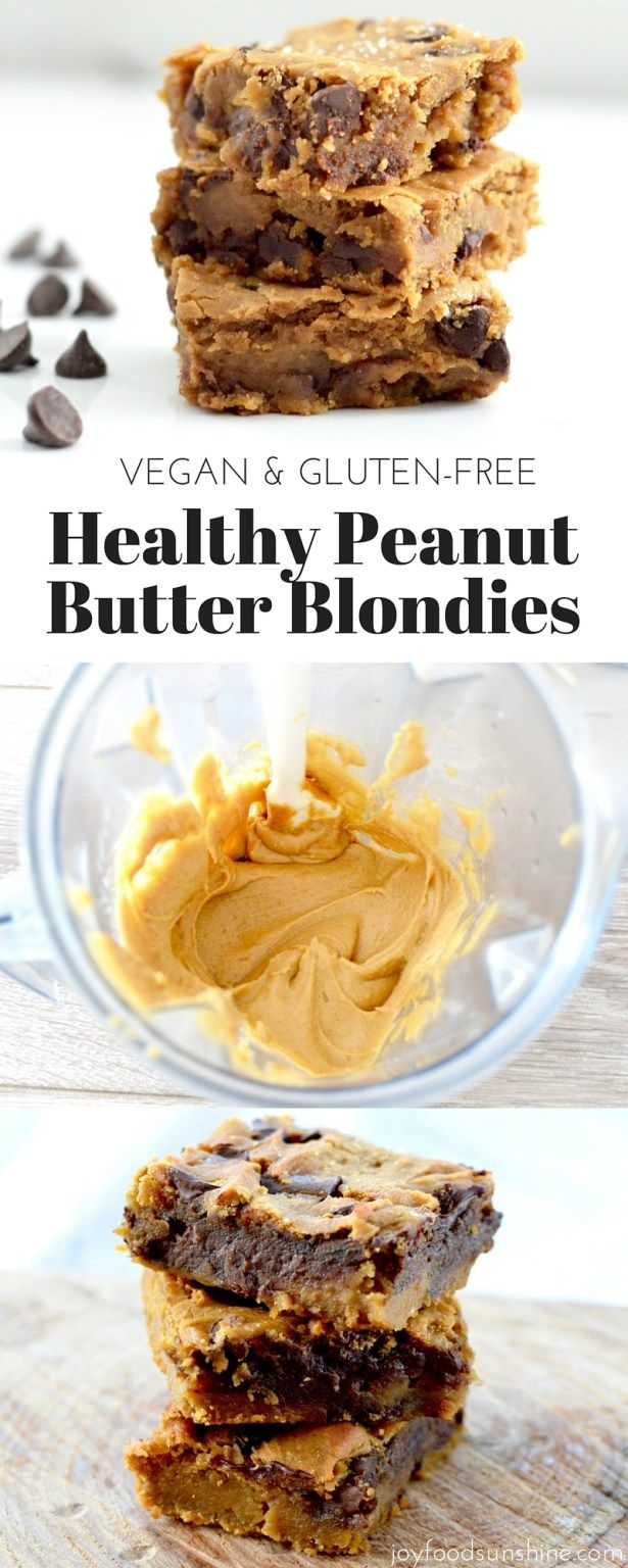 Healthy Peanut Butter Blondies! Using chickpeas makes these bars a dessert you…