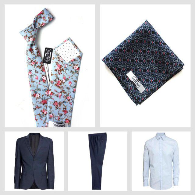 Květinové kravaty a jejich kombinování: 4 inspirativní outfity.   Inspirational light blue floral tie outfit.