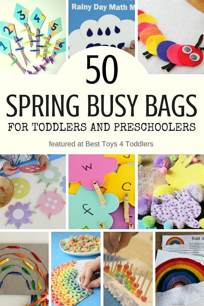 Best Toys 4 Toddlers - 50 Spring Busy Bags for Toddlers and Preschoolers featuring activities with flowers, bugs, weather, rainbow and more