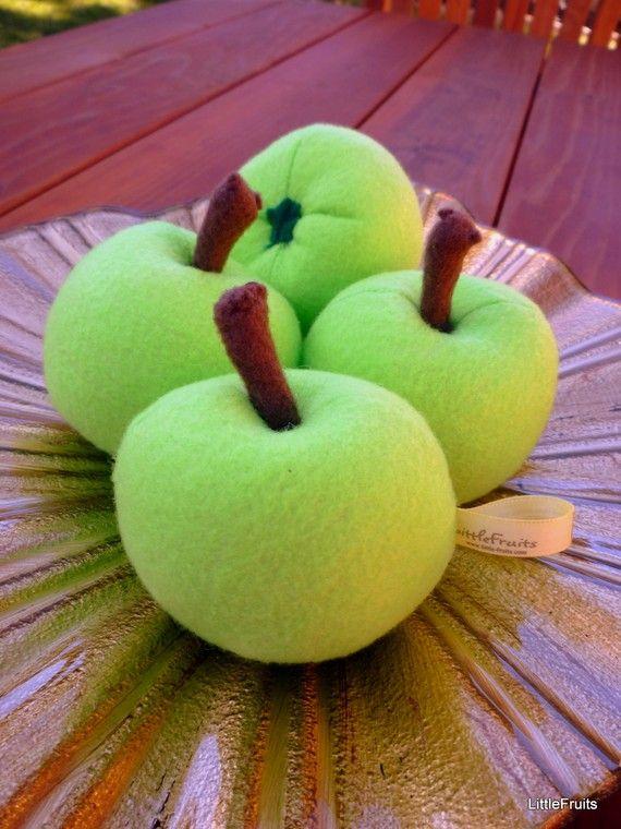 Felt Food Toys R Us : Felt apples green handcrafted toy childrens pretend play