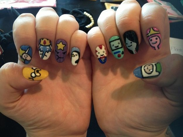 oh my glob, amazing!! Adventure Time. | 29 Examples Of Marvellously Geeky Nail Art