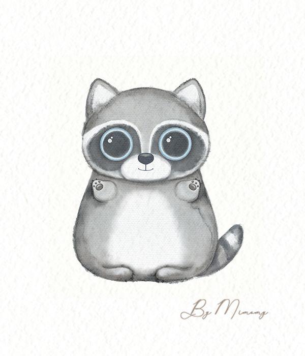 Watercolor Cartoon Kawaii Funny Raccoon Raccoon Illustration Cute Animal Drawings Raccoon Funny