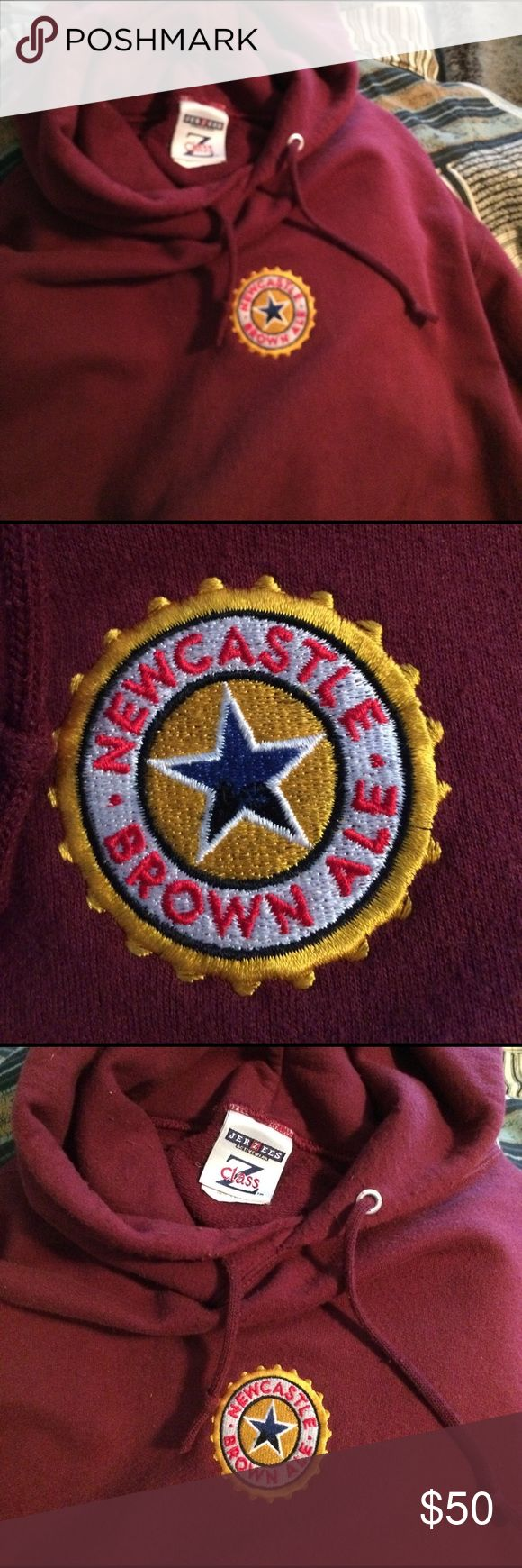 Newcastle Brown Ale Jerzees Hoodie w/ etched logo Malty Maroon Newcastle Brown Ale Jerzees Z Class Hoodie with etched NBA star logo center chest. Gently enjoyed in excellent condition. Size L. Jerzees Jackets & Coats Lightweight & Shirt Jackets