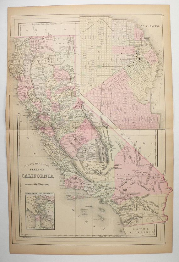 Large Us State Map.Large Vintage Map California Ca State Map Original 1886 Bradley