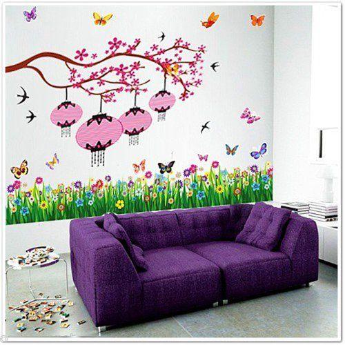 Walplus Huge Flower Erflies Lantern Bird Blossom Decal Children Wall Stickers By Http