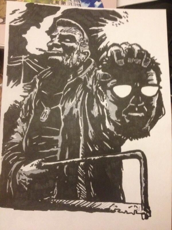 Drawing of Marv and Kevin from Sin City, using Promarkers.