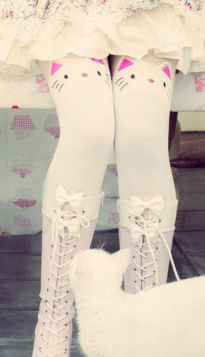 Kawaii over the knee cat socks.