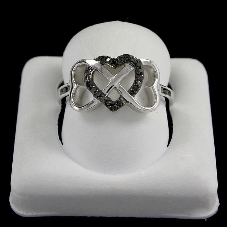 Heart Promise Ring in Genuine Round Black Diamond Sterling