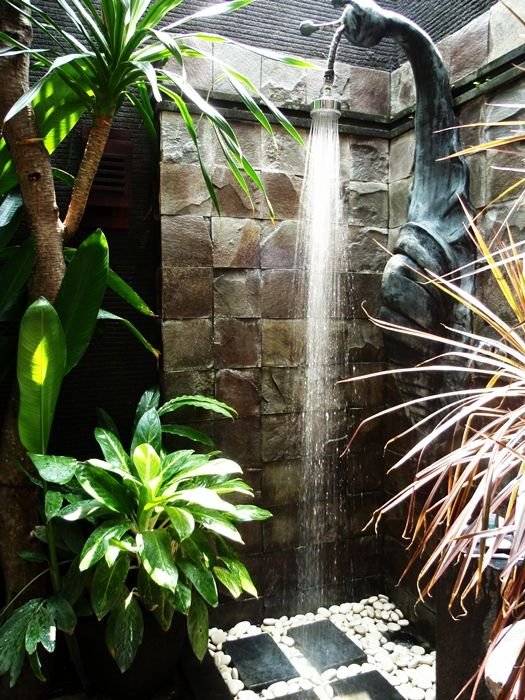 Outdoor Bali shower - At home we try to infuse a  sense of Bali; whether it is the infinity pool suspended in space, the celestial spa with daybeds or the intimate courtyard accented with one flowering tree. The resort garden is now a well used shorthand lovely until winter arrives!