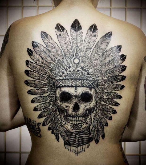 Tatouage indien 20 mod les impressionnants pour un tatouage femme tatouages indiens t te de - Tatouage crane indien ...