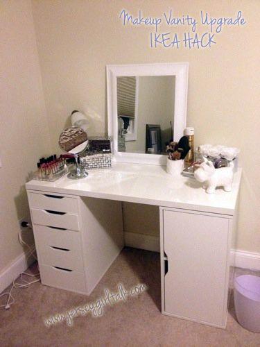 New makeup desk for me.....DIY Makeup Vanity Desk Set Up - ALEX Ikea Hack, Vanity Girl Hollywood and MORE!