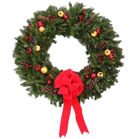 The Christmas Tree Company Fresh Pomegranate & Pinecone Holiday Wreath w/ No-Swing Wreath Hanger  on sale at ShopHQ.com