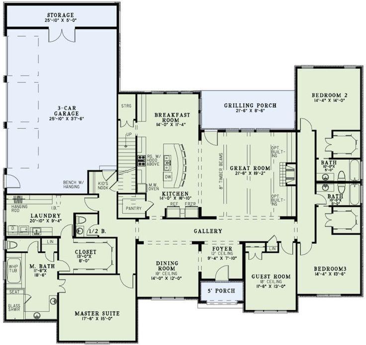 Houseplans.com Main Floor Plan Plan #17-2497 also has a bonus room upstairs