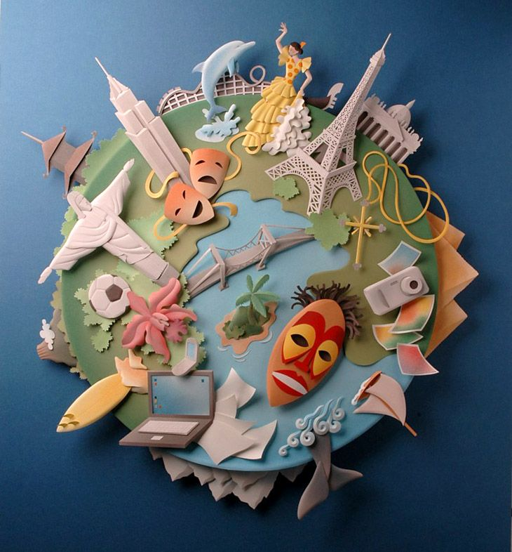 Best Paper Art Images On Pinterest Paper Sculptures - Vibrant paper illustrations sculptures yulia brodskaya