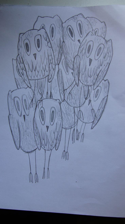 совы такие совы ;) карандаш бумага вечер