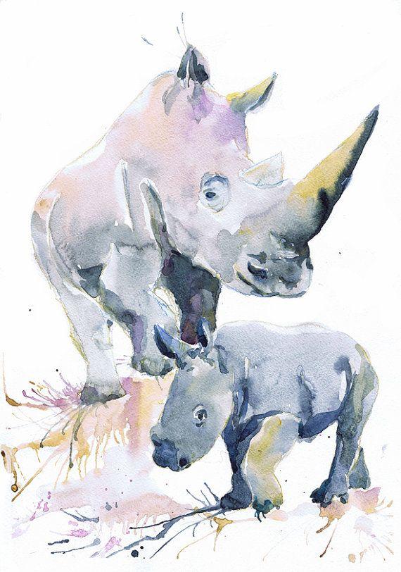Watercolor Rhino With Baby Painting Rhinoceros Wall