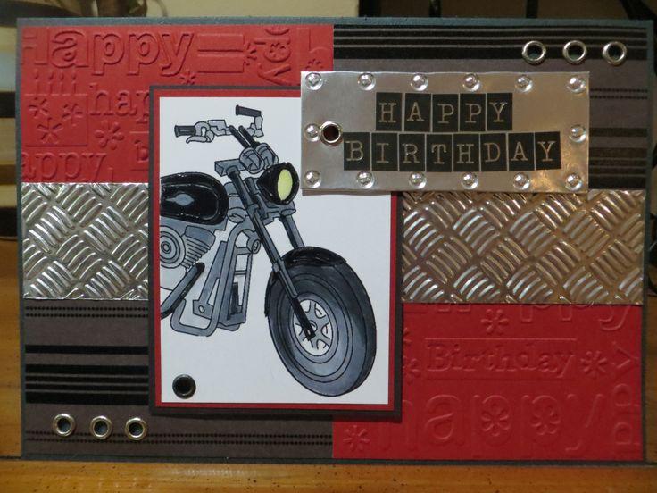 Male birthday card, embossed foil, motorcycle digi stamp, eyelets