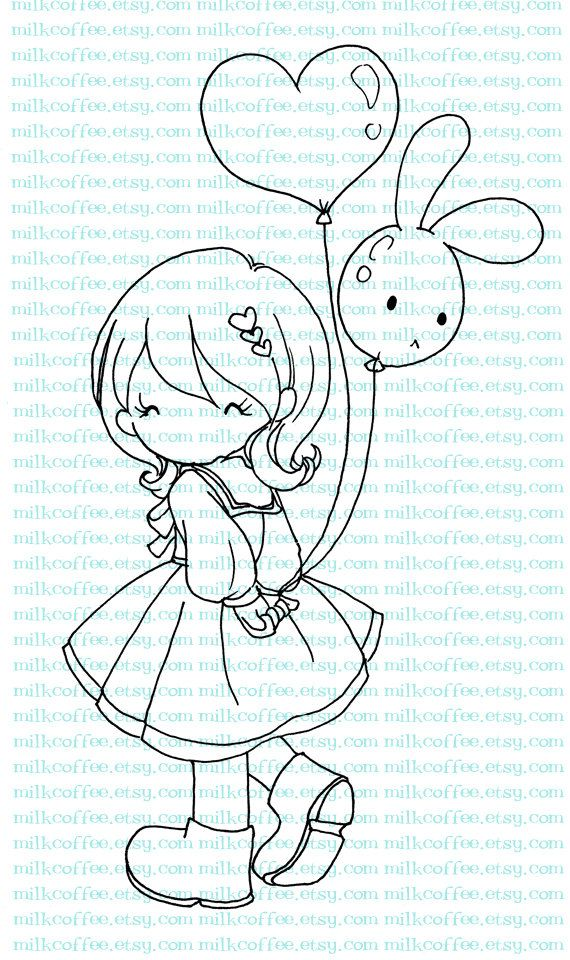 Digital Stamp Charlotte and Bunny Love Balloon by MilkCoffee
