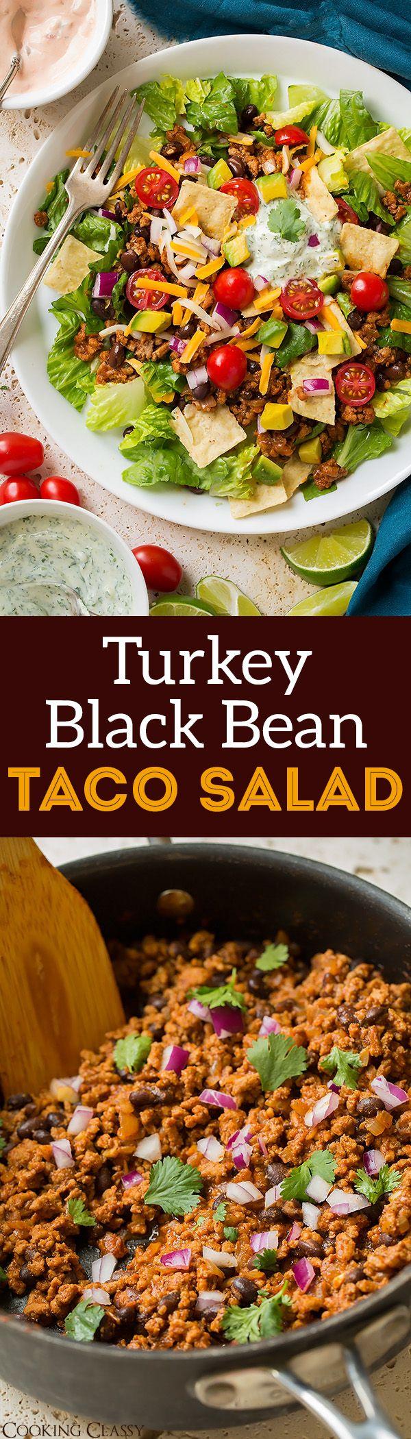 Turkey Black Bean Taco Salad - a healthier take on taco salad! It's my go-to taco salad recipe! Whole family loves it!