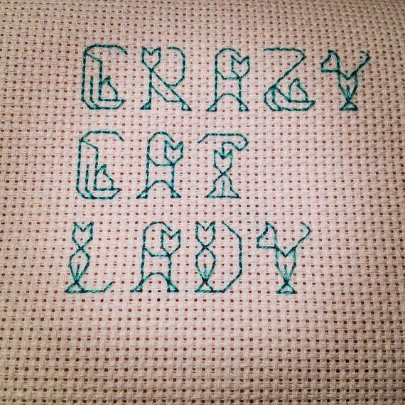 Cross Stitch  Crazy Cat Lady in Cat Font by 3DRD on Etsy