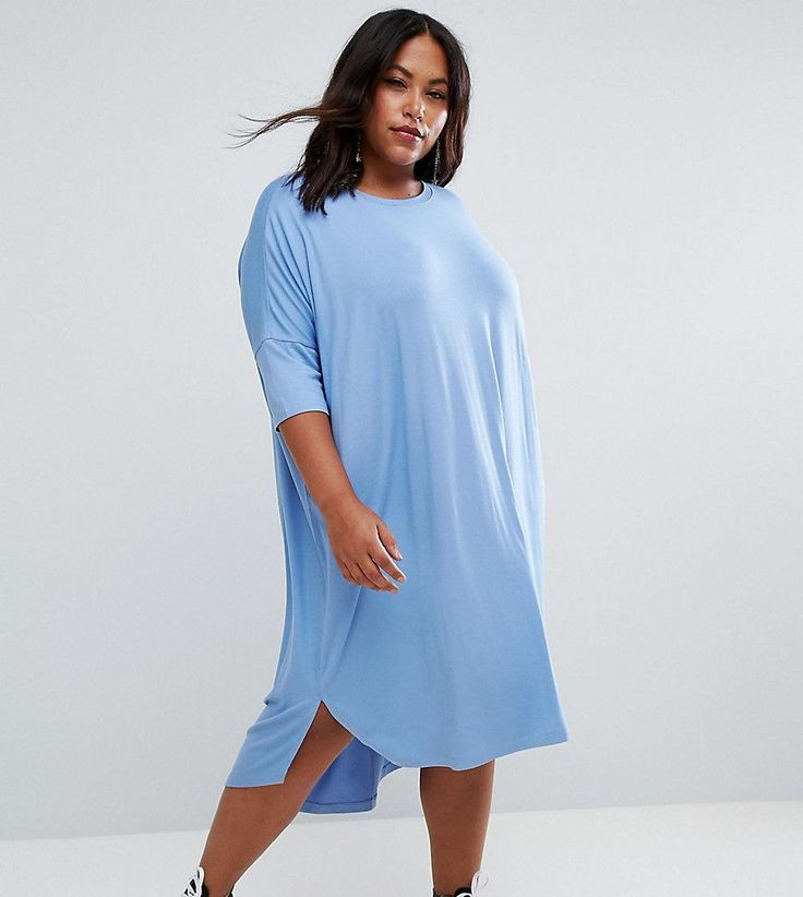 ASOS CURVE Oversize T-Shirt Dress with Curved Hem - Blue
