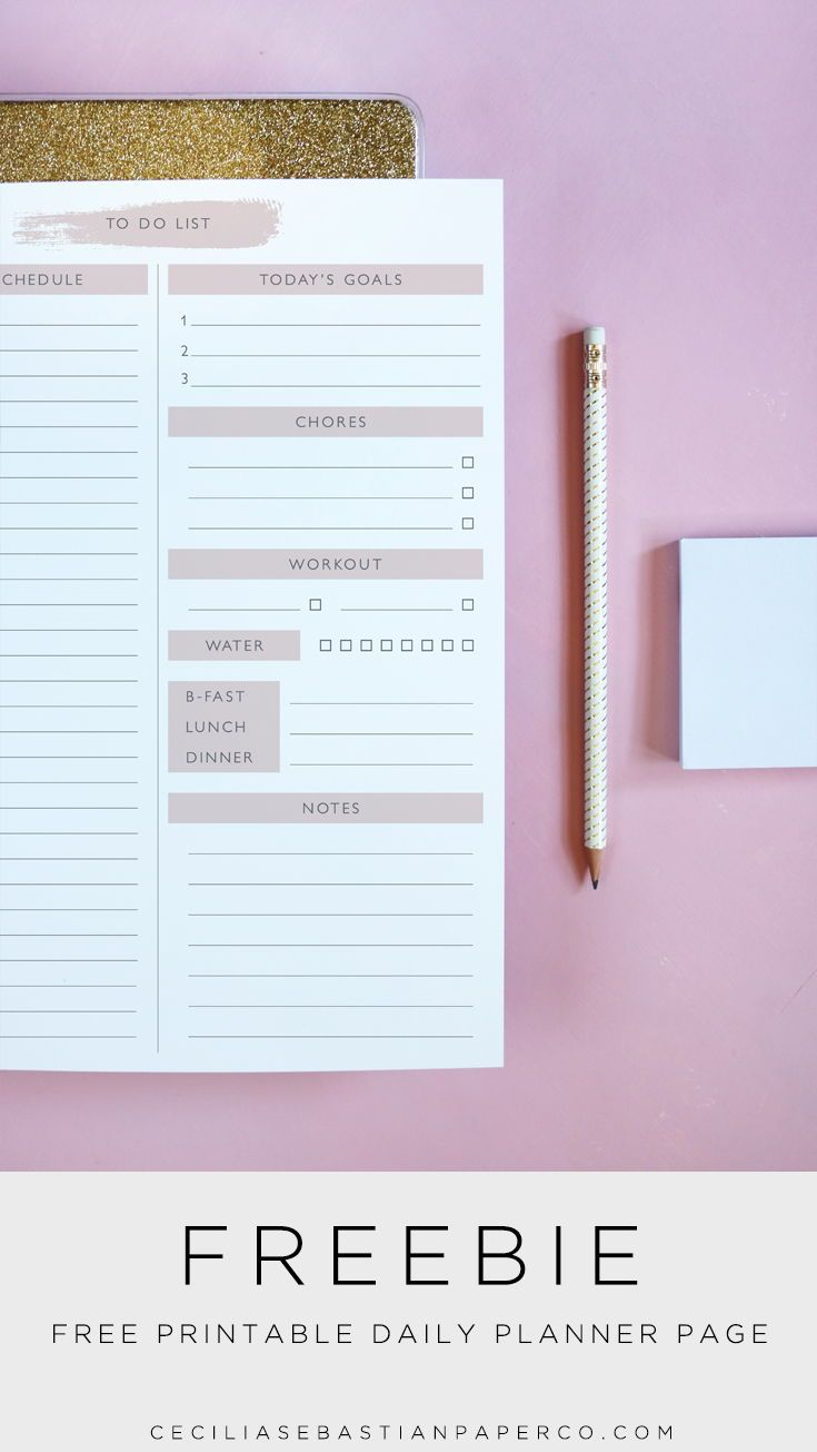 Free Printable Daily Planner Page  With space to list your goals, plan your meal…