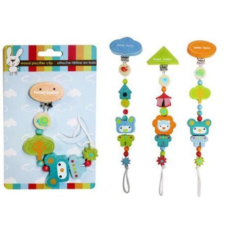 Honey Bunny Wooden Pacifier Clip Assorted Colors