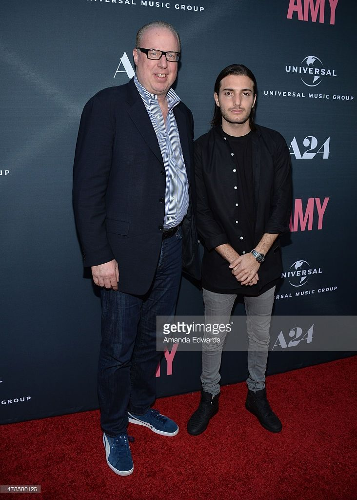 Steve Bartels, CEO of Def Jam Recordings (L) and DJ Alesso arrive at the premiere of A24 Films 'Amy' at the ArcLight Cinemas on June 25, 2015 in Hollywood, California.