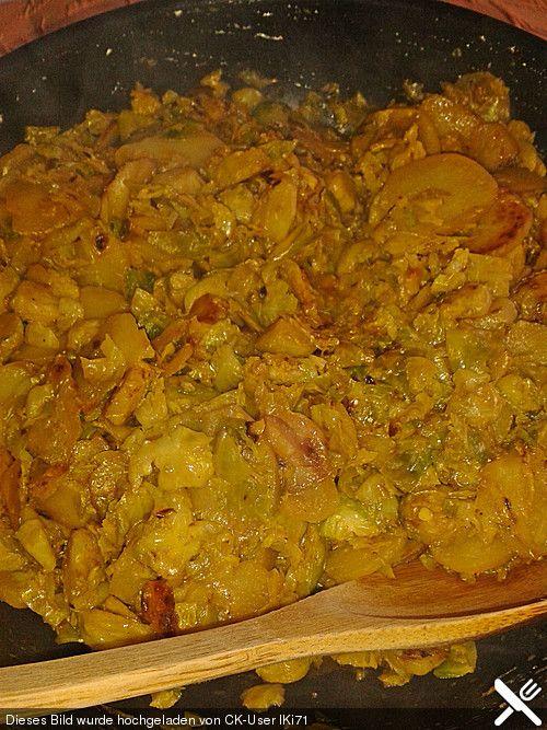 Gebratener Rosenkohl mit Kartoffeln