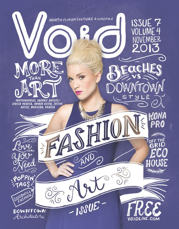 Void Magazine cover design using creative typography and illustration with a purple background spun off of Pantone's Color of the Year, Radiant Orchid.
