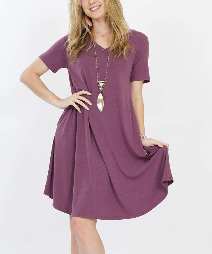 6906550be4f Eggplant Side-Pocket V-Neck Dress - Women #shirt#sleep#collar ...