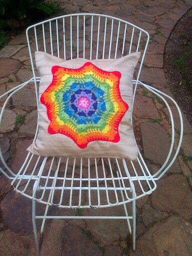 Crochet Pillow bright colours