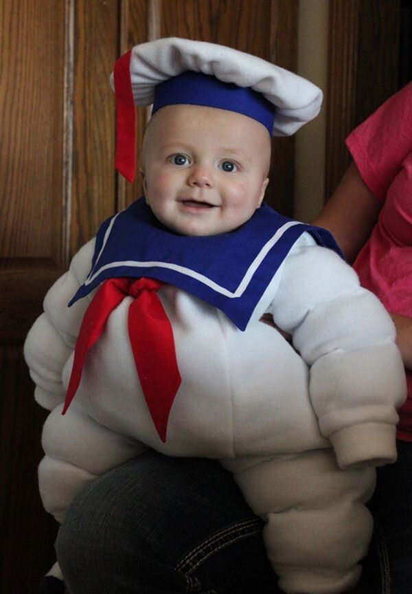 So adorable! A mini Stay Puft  #halloween #kidsfancydress #ghostbusters