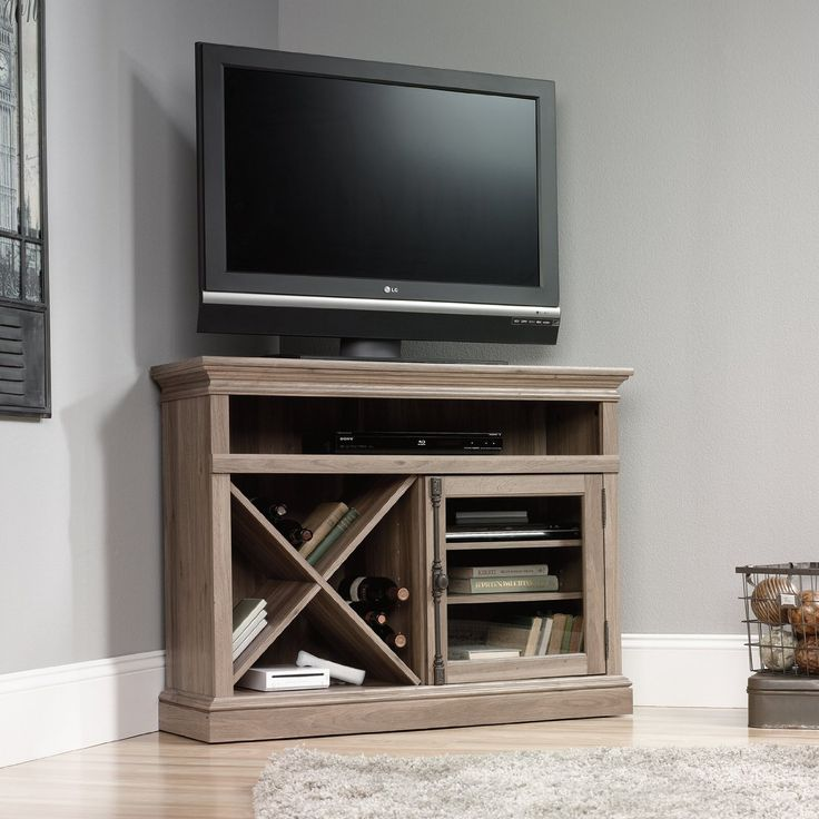 Furniture Best sauder tv stand For Your Family Room Design Ideas: Natural Teak Wood Sauder Tv Stand Design With Area Rugs And Grey Wall For Interior Plus Target Corner Tv Stand Tall Tv Stand With Mount
