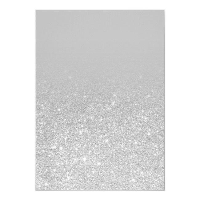 Silver glitter ombre letters gray chic sweet 16 invitation | Zazzle.com