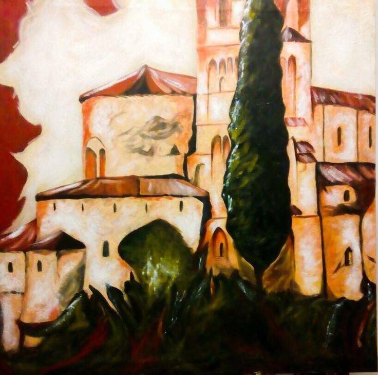 """OnLineArt 2017 -  Opera Pittorica: """"Paesaggio Incantato Fantasy"""" -  Artista: Alessandra Uscè  -  100x100, acrilico su tela. 2016."""